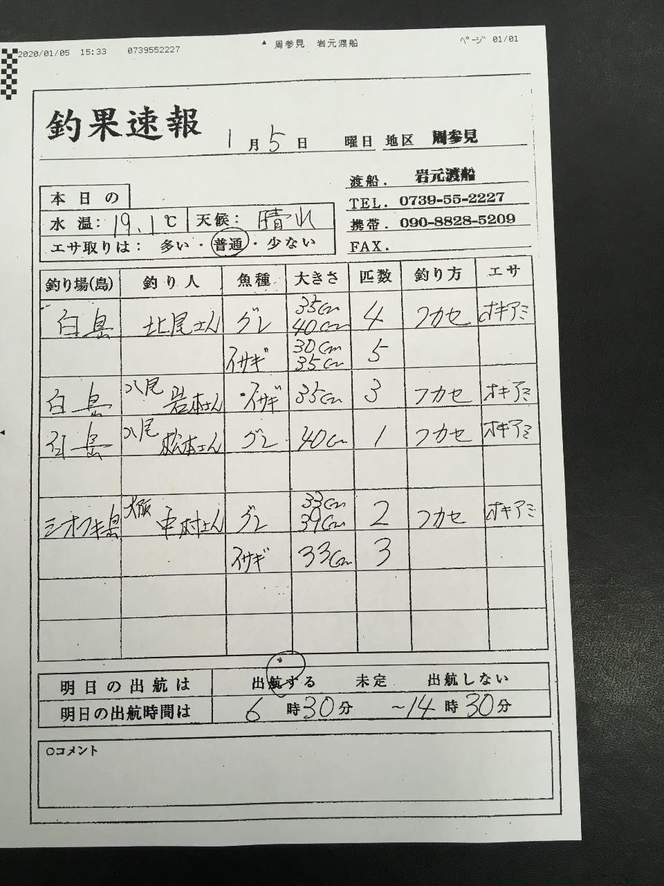 1/5  すさみ 岩元渡船さん釣果