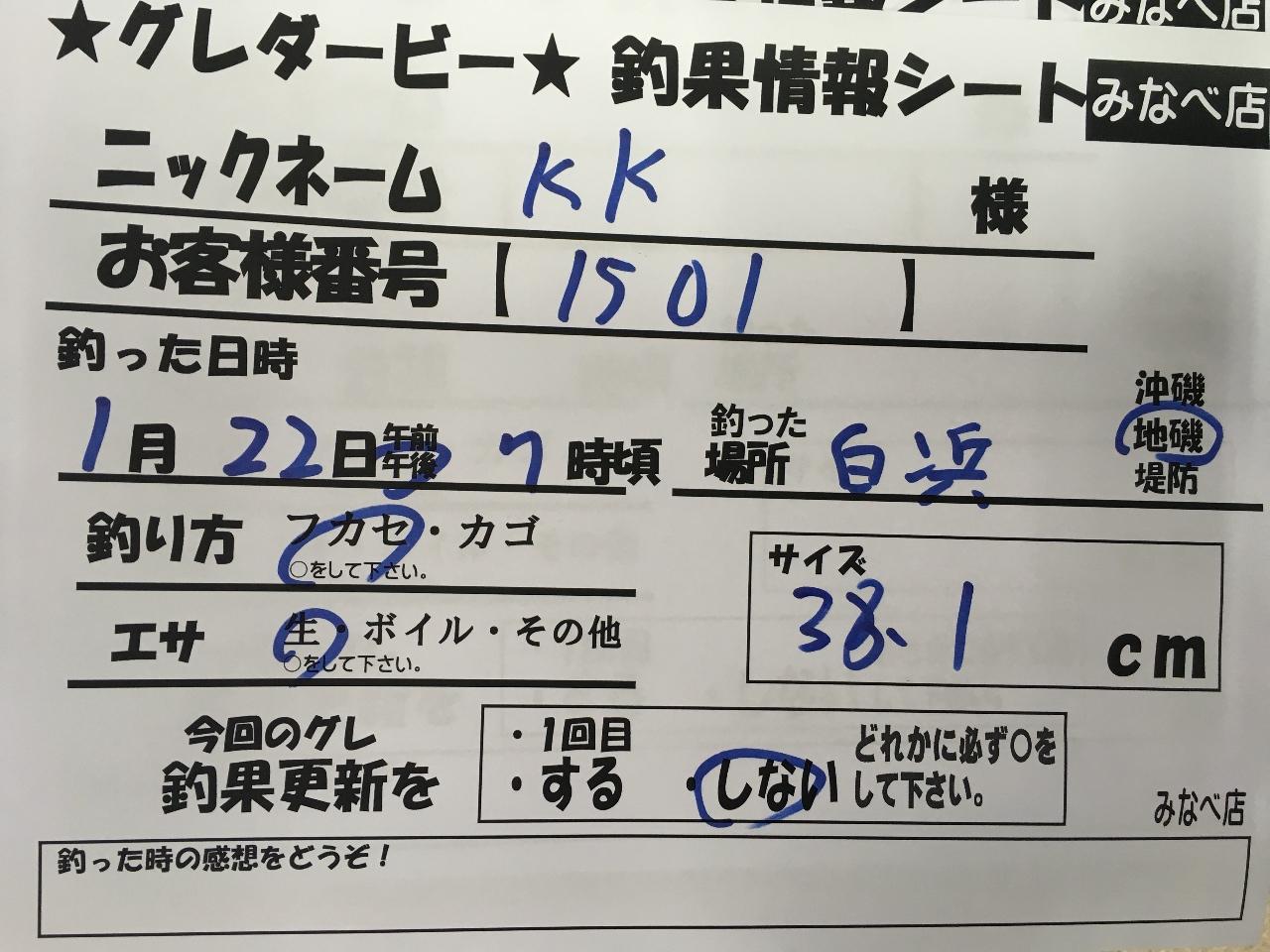 1/22 KK様 第2回グレダービー2020釣果(白浜地磯)38.1cm