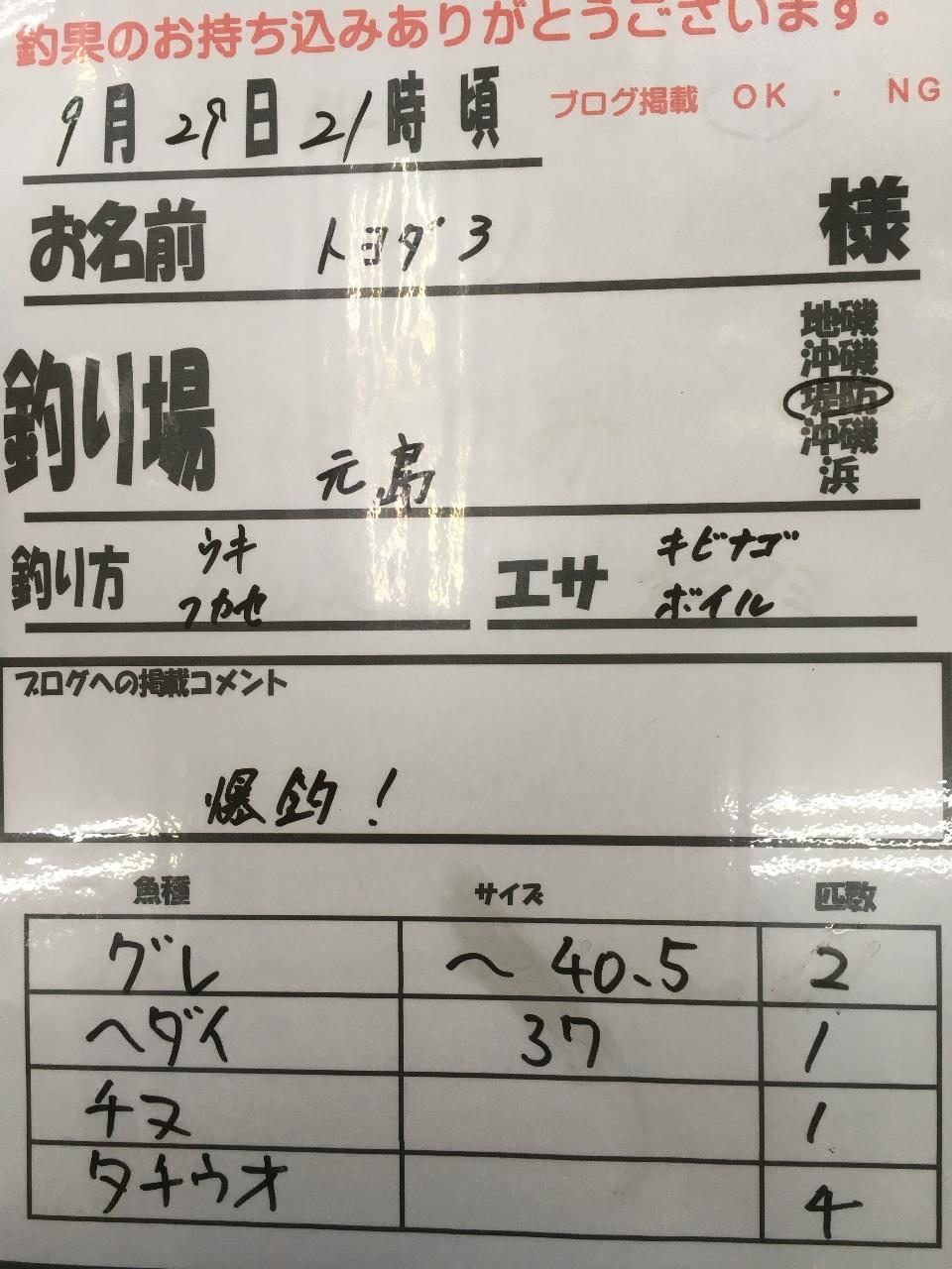 9/29 みなべ店持ち込み釣果