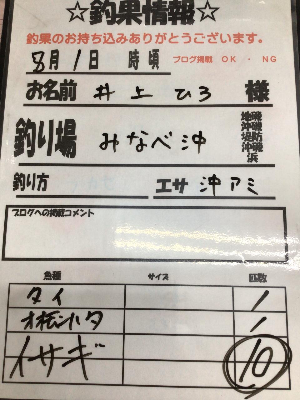 8/1 みなべ沖での釣果情報