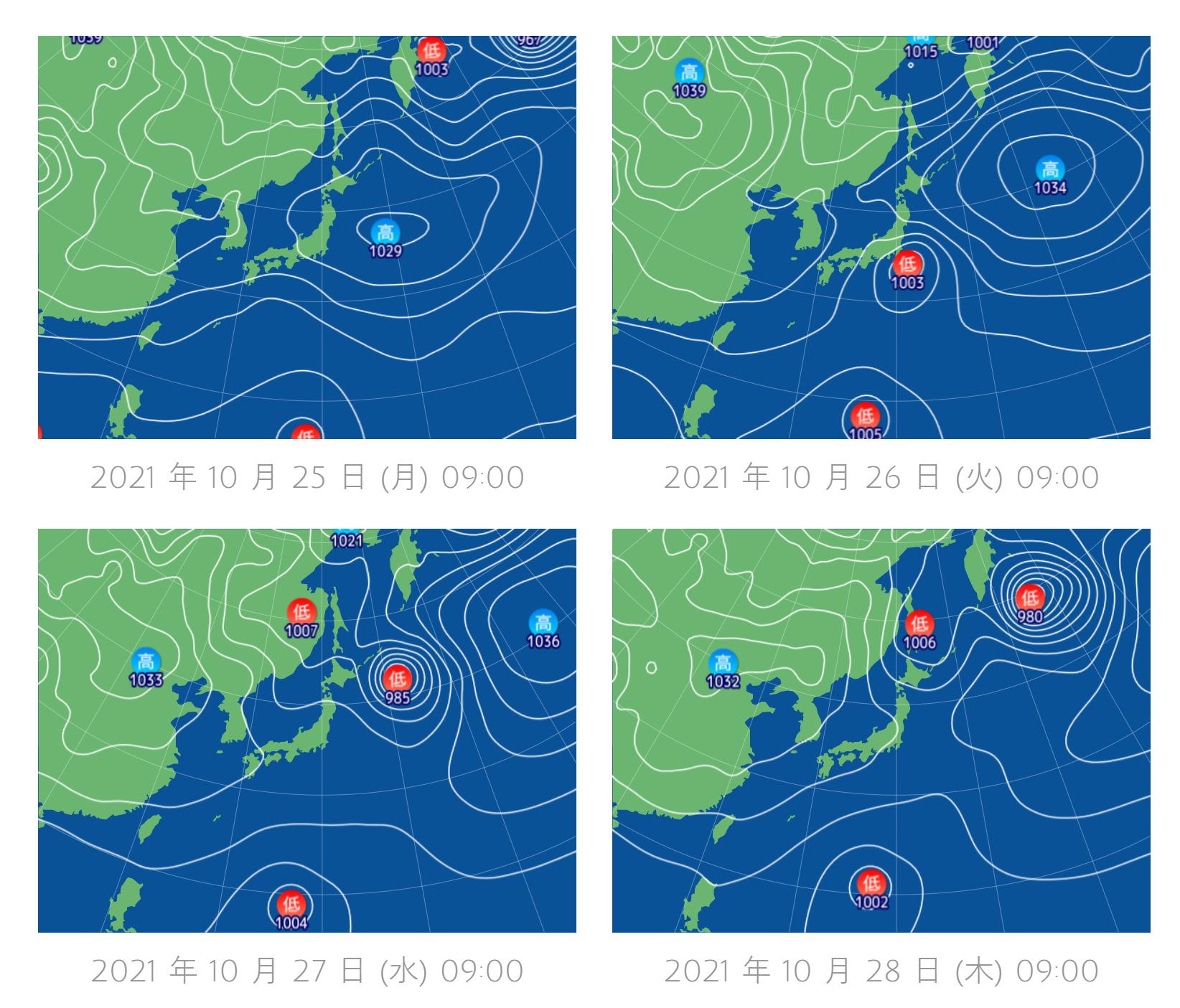 釣行サポート10/25(月)更新 週間天気解説(10/27~11/1)