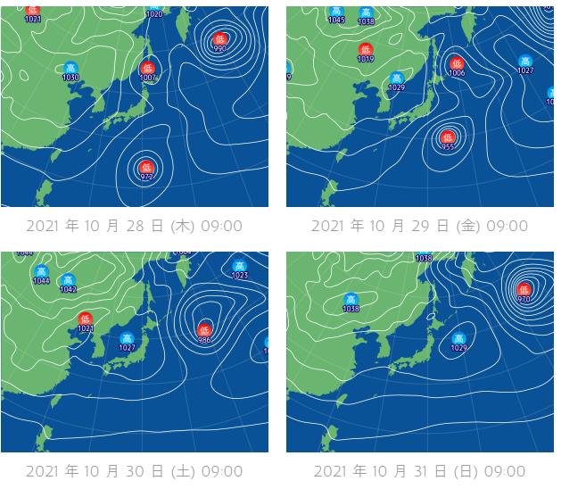 釣行サポート10/28(木)更新 週間天気解説(10/30~11/4)